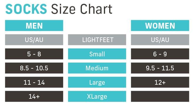 Lightfeet Sock Size Chart