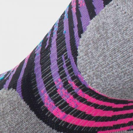 Lightfeet Predator Mini Crew Sock in Black, Fluro Pink, Violet and Aqua